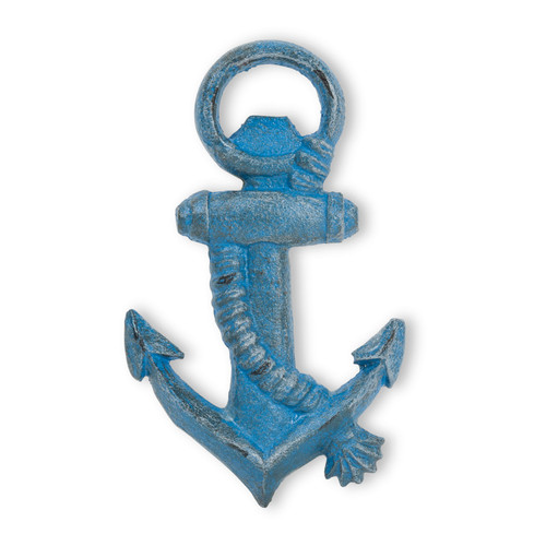 Anchor and Rope Bottle Opener Handheld Blue Cast Iron Distressed Finish