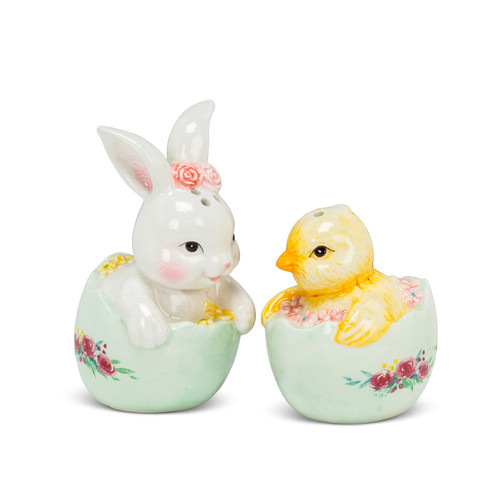 Rabbit and Chick in Egg Spring Salt and Pepper Shakers Ceramic