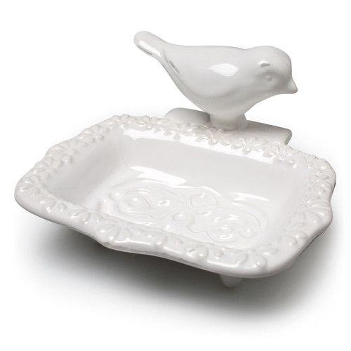 Perched Bird Embossed Soap Dish White Ceramic Kitchen or Bath