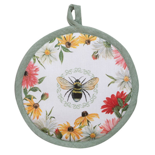 Floral Buzz Honey Bee and Daisies Round Kitchen Pot Holder