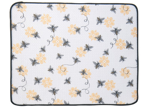 Queen Bee Black and White Kitchen Countertop Drying Mat