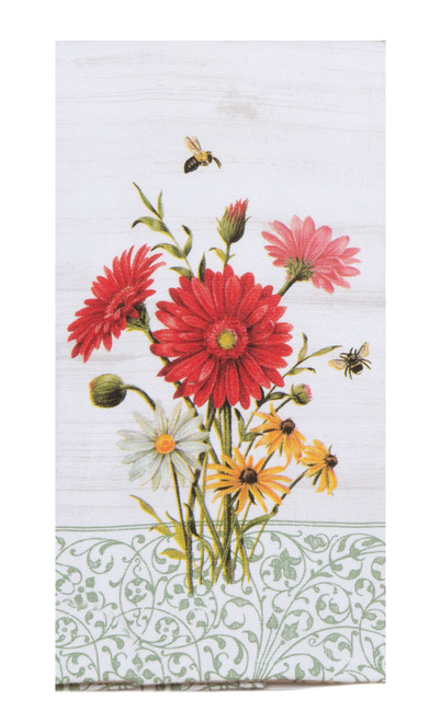 Floral Buzz Daisies and Honey Bee Dual Purpose Kitchen Terry Towel