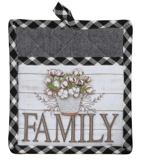 Home Sweet Home Family Black and White Plaid Kitchen Pocket Mitt