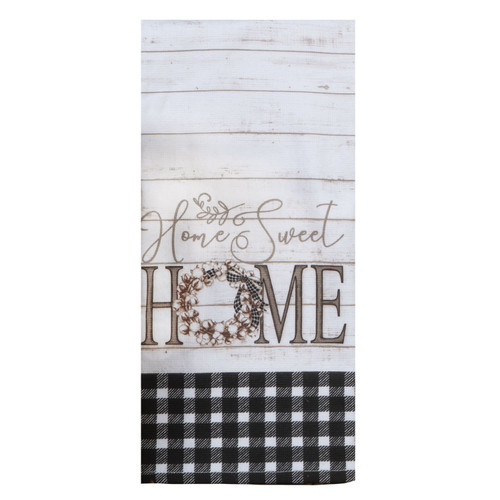 Home Sweet Home Black and White Plaid Dual Purpose Kitchen Terry Towel