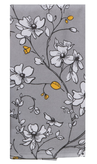 Sweet Home Gray Floral Dual Purpose Kitchen Terry Towel