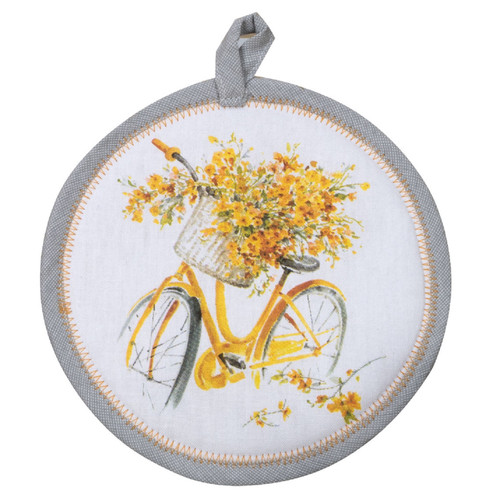 Sweet Home Bicycle Basket Filled with Yellow Flowers Kitchen Pot Holder