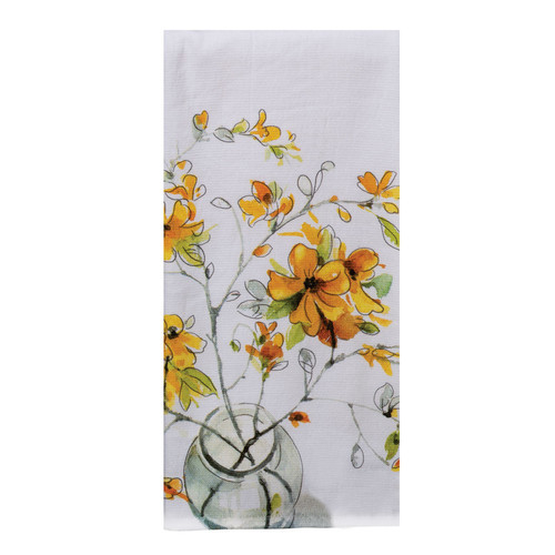 Sweet Home Yellow Forsythia Flowers Dual Purpose Kitchen Terry Towel