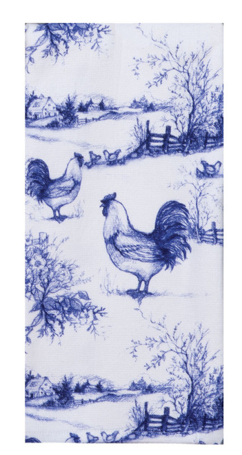 Blue Rooster Toile Print Dual Purpose Kitchen Terry Towel