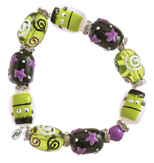 Make Mine Frankenstein Halloween Rhinestone Beaded Kate Macy Stretch Bracelet