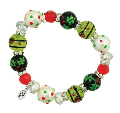 Jolly Holly Christmas Cheer Rhinestone Glass Beaded Kate Macy Stretch Bracelet