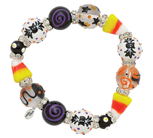 Sweet Spooky Candy Corn Halloween Rhinestone Beaded Kate Macy Stretch Bracelet