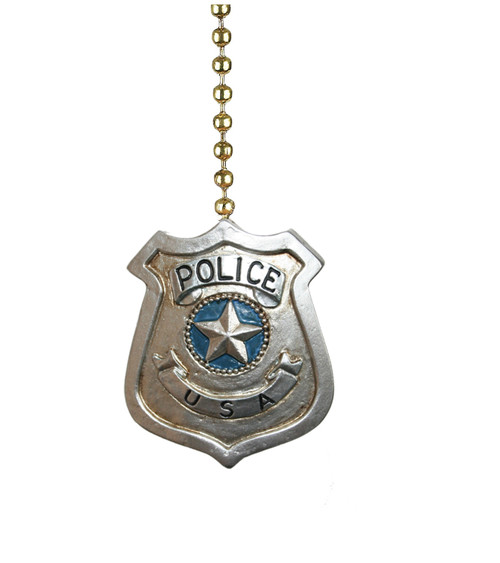 Police Badge Silver Color Ceiling Fan Pull or Light Pull Chain