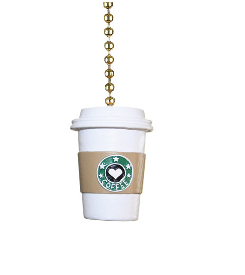 To Go Cup of Coffee Ceiling Fan Pull or Light Pull Chain
