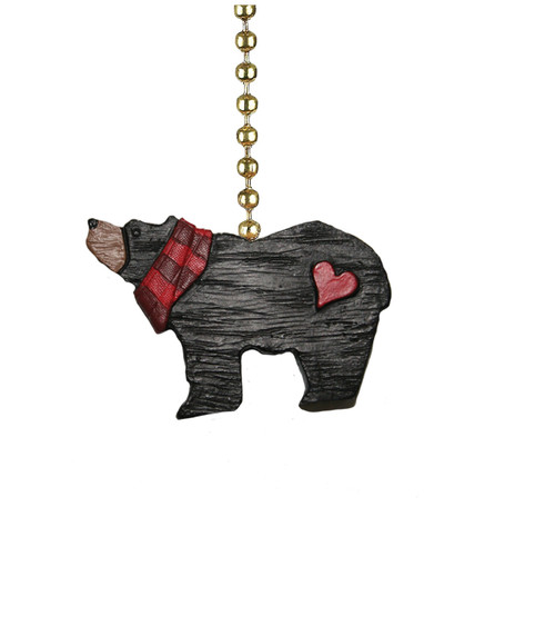 Black Bear with Red Heart and Plaid Scarf Ceiling Fan Pull or Light Pull Chain