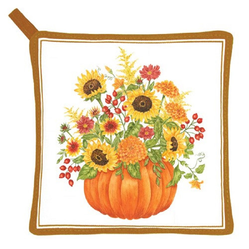 Pumpkin Filled with Sunflowers Kitchen Pot Holder Cotton