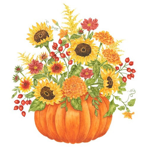Pumpkin Filled with Sunflowers Flour Sack Kitchen Towel Cotton