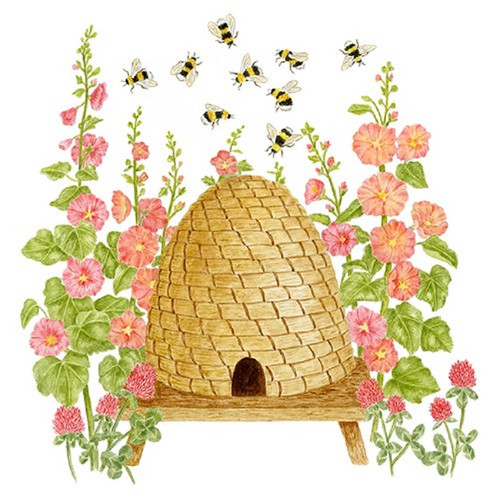 Bee Skep and Honeybees Flour Sack Kitchen Towel Cotton