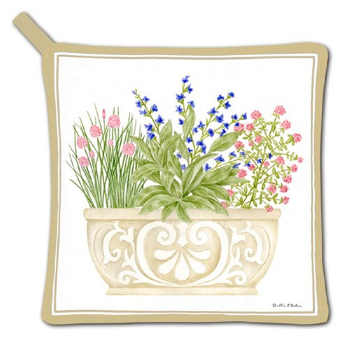 Herb Planter Filled with Herbs Kitchen Pot Holder Cotton
