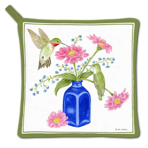 Cobalt Flower Vase and Hummingbirds Kitchen Pot Holder Cotton