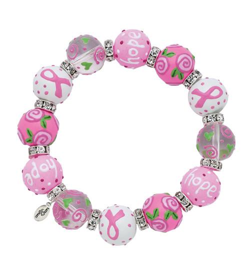 Pink Ribbon of Hope Rhinestone Glass Beaded Kate Macy Stretch Bracelet