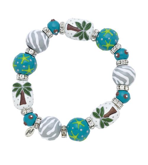 Palm Tree Vista Teal Rhinestone Glass Beaded Kate Macy Stretch Bracelet
