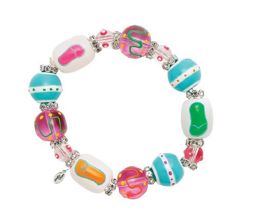 Flip Flops Forever Rhinestone Glass Beaded Kate Macy Stretch Bracelet
