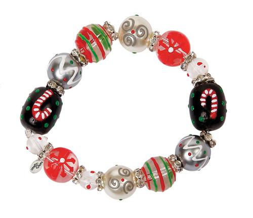 Candy Cane Lane Christmas Rhinestone Glass Beaded Kate Macy Stretch Bracelet