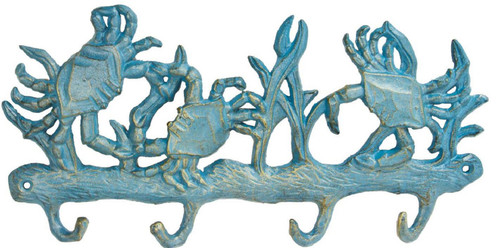 Blue Crabs Key Rack Wall Mount Cast Iron