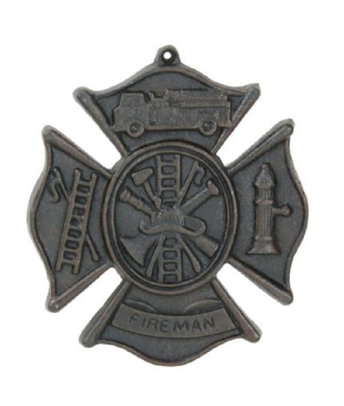 Fireman Wall Plaque Cast Iron Antiqued Brown