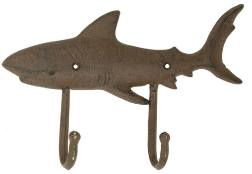 Shark Double Wall Hook Cast Iron Antiqued Brown