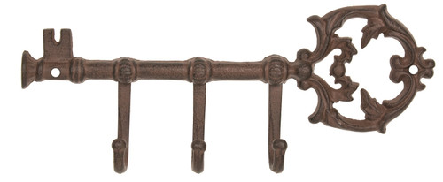 Ornate Key Shaped Triple Wall Hooks Key Holder Cast Iron