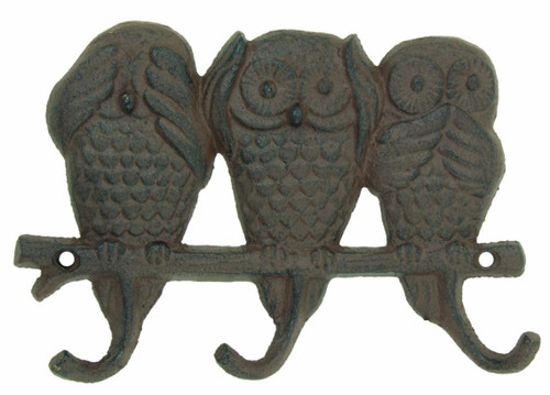 See No Owl Key Rack Wall Mount Cast Iron