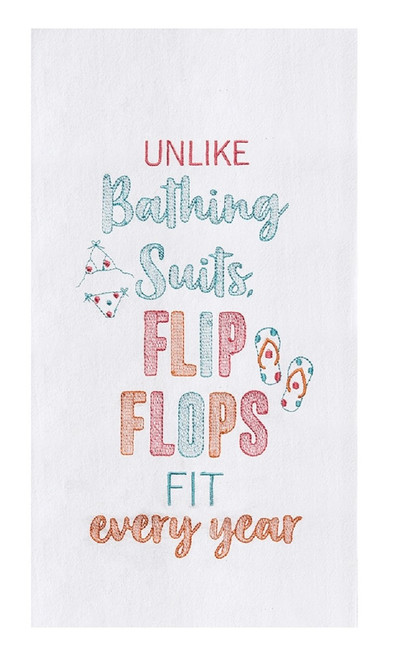 Flip Flops Fit Every Year Embroidered Flour Sack Kitchen Dish Towel