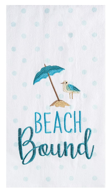 Beach Bound Polka Dots Embroidered Kitchen Dish Towel Cotton