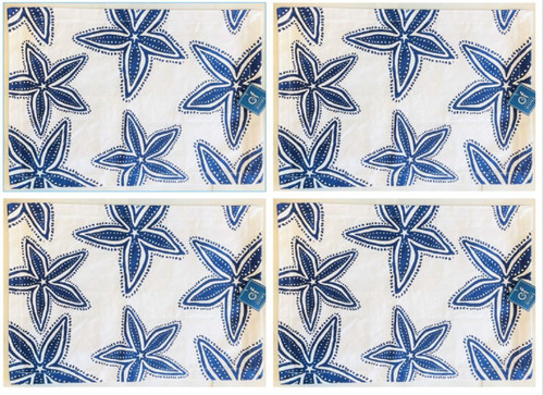 Coastal Starfish Blue and White Placemats Set of 4 Printed Cotton