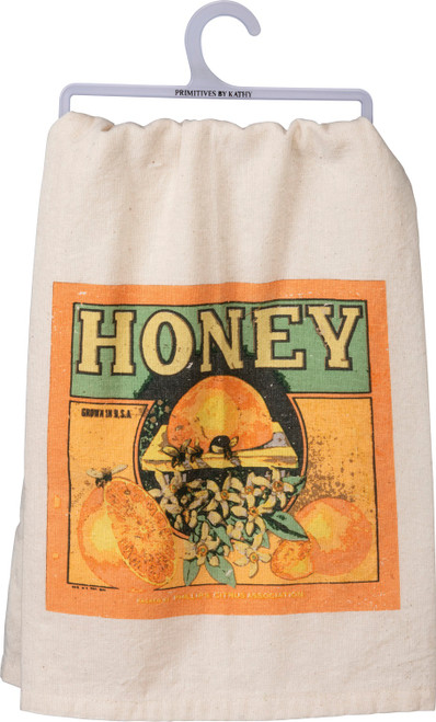 Honey Bee Vintage Look Kitchen Dish Towel Cotton