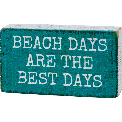Beach Days are the Best Days  Block Sign Wood Teal Blue Shelf Sitter