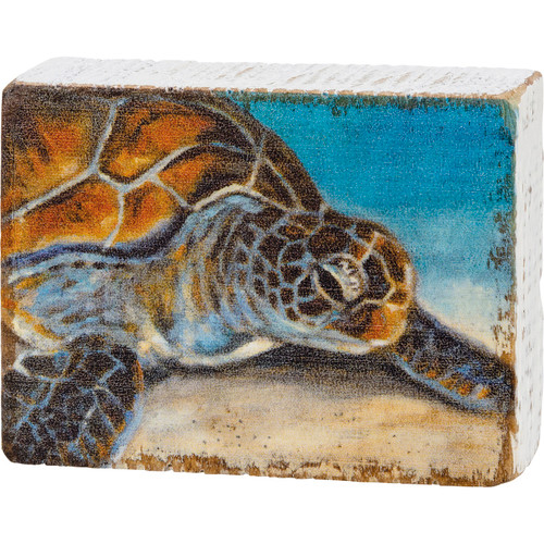 Sea Turtle on the Beach Block Sign Wood Shelf Sitter