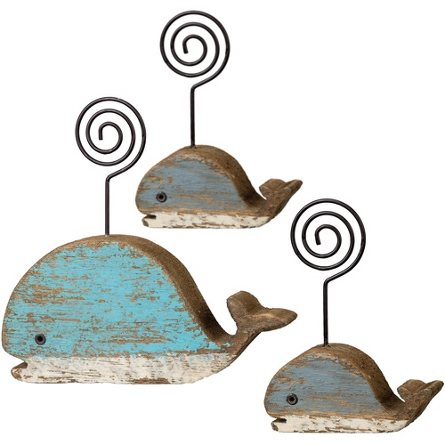 Blue Whales Photo Holders Block Wood Painted Set of 3