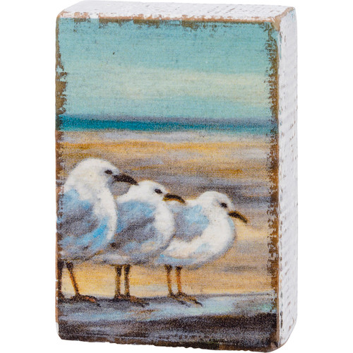 Seagulls On the Beach Block Sign Wood Shelf Sitter