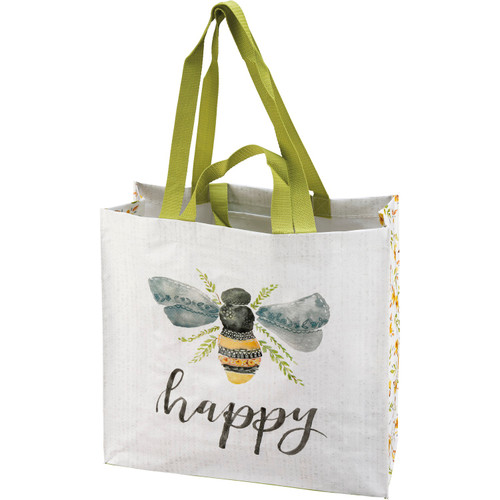 Bee Happy Bumblebee Market Tote Bag Reusable Double Sided Design