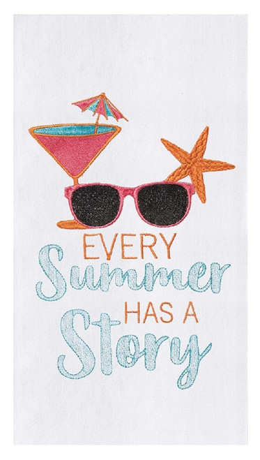 Every Summer Has a Story Embroidered Flour Sack Kitchen Dish Towel Cotton