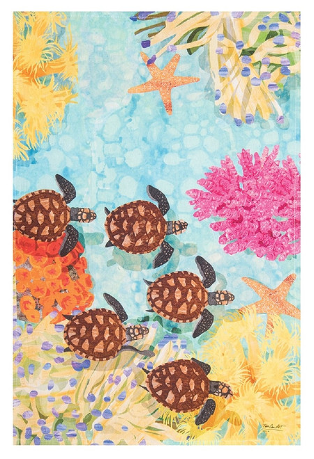 Baby Sea Turtles Swimming Printed Flour Sack Kitchen Dish Towel Cotton