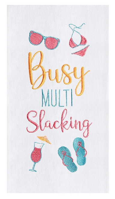 Busy Multi Slacking Embroidered Flour Sack Kitchen Dish Towel Cotton