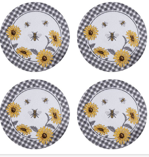 Just Bees and Sunflowers Braided Kitchen or Dining Table Placemats Set of 4