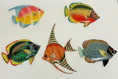 Tropical Fish Wall Decor 2 Dimensional Set of 5 Painted Resin 6 Inch 6 Inches
