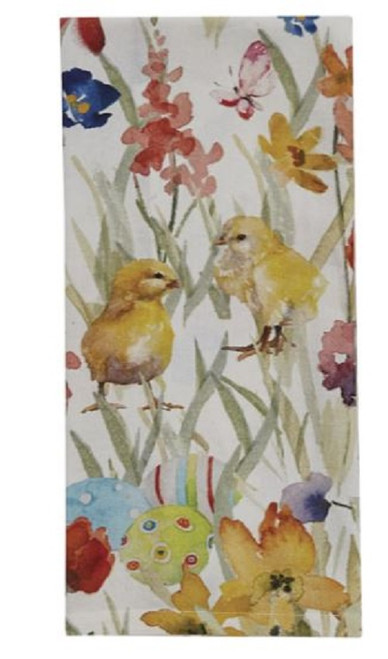Park Designs Fluffy Chicks Eggs and Flowers Print Kitchen Dish Towel