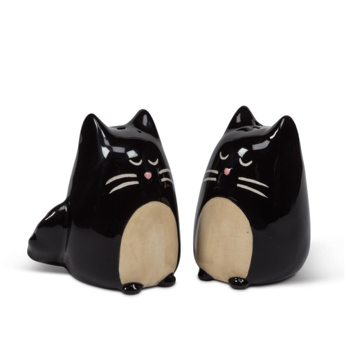 Black and White Simple Kitty Cats Salt and Pepper Shakers Set Ceramic