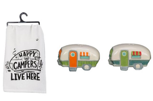 Happy Campers Salt and Pepper Shakers and Camping Kitchen Dish Towel Bundle