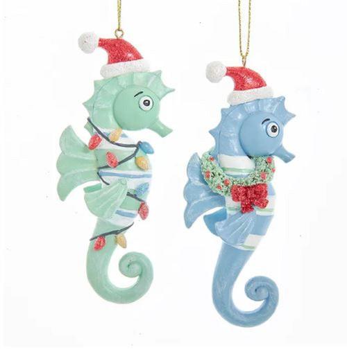 Whimsical Blue Green Seahorses in Santa Hat Christmas Holiday Ornaments Set of 2